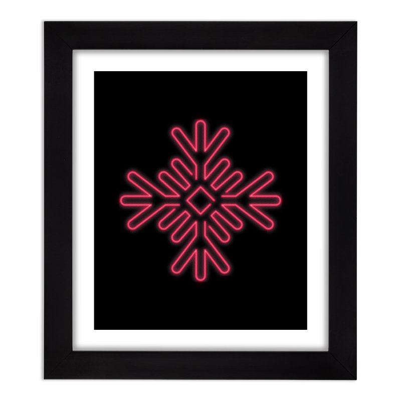 Neon Snowflake Red Home Framed Fine Art Print by heavyhand's Artist Shop