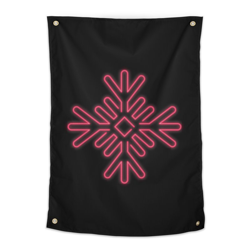 Neon Snowflake Red Home Tapestry by heavyhand's Artist Shop