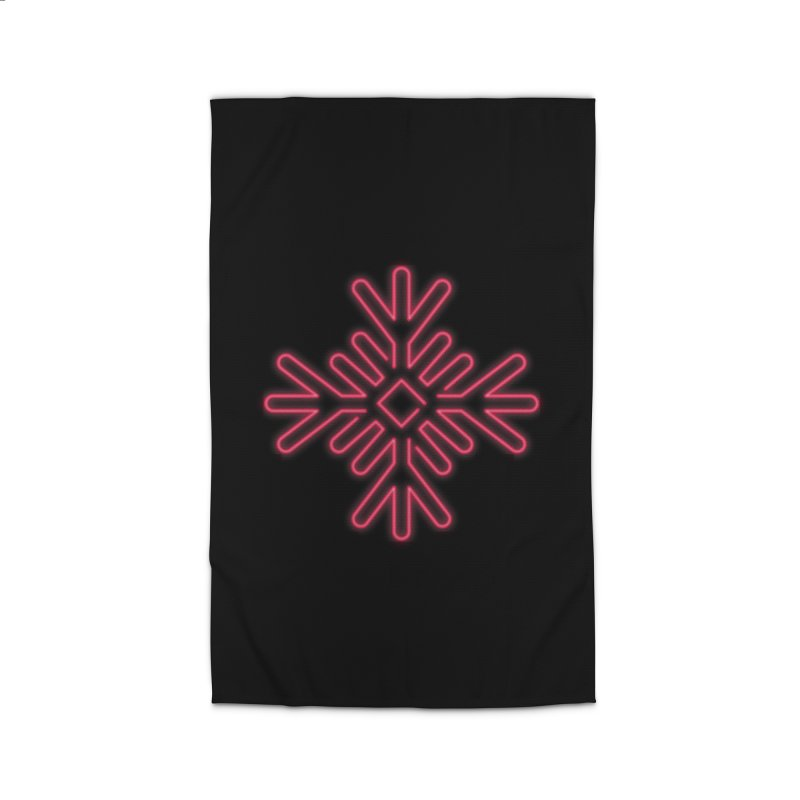 Neon Snowflake Red Home Rug by heavyhand's Artist Shop
