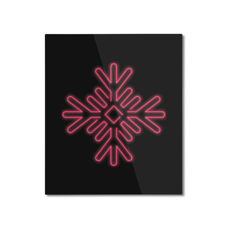 Neon Snowflake Red Home Mounted Aluminum Print by heavyhand's Artist Shop