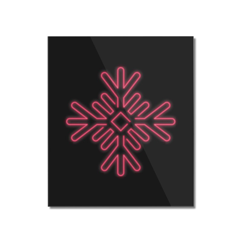 Neon Snowflake Red Home Mounted Acrylic Print by heavyhand's Artist Shop