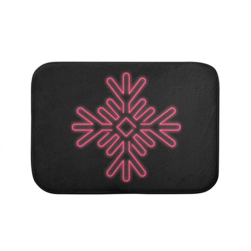 Neon Snowflake Red Home Bath Mat by heavyhand's Artist Shop