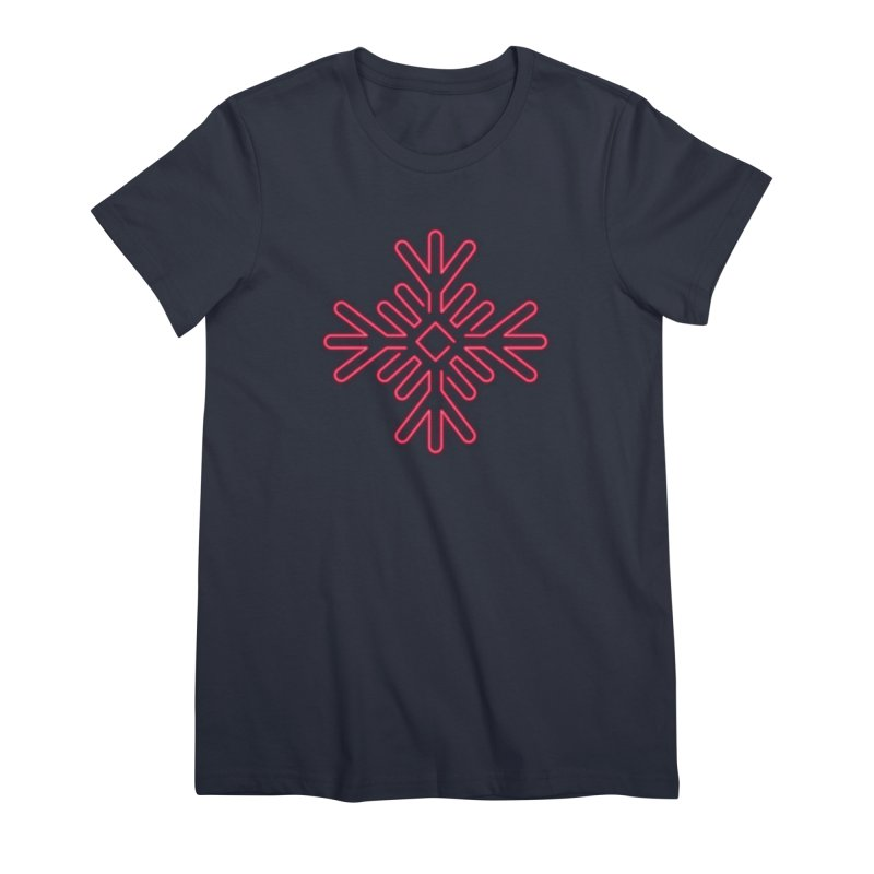 Neon Snowflake Red Women's T-Shirt by heavyhand's Artist Shop