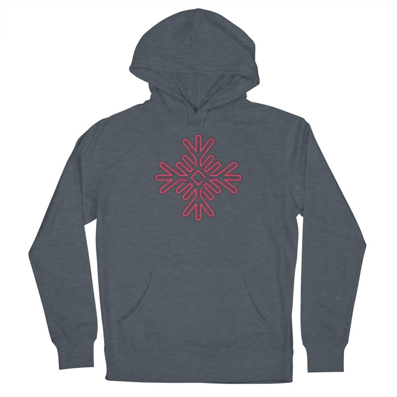 Neon Snowflake Red Men's Pullover Hoody by heavyhand's Artist Shop