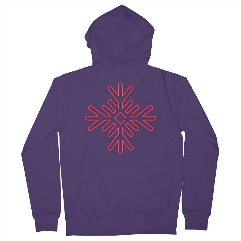 Neon Snowflake Red Women's Zip-Up Hoody by heavyhand's Artist Shop