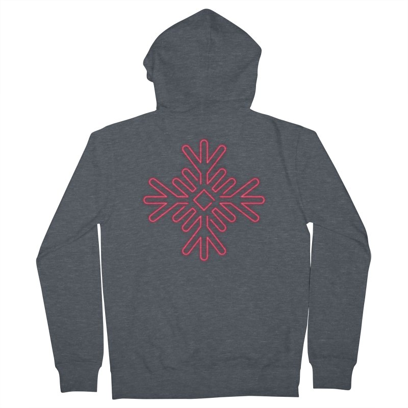 Neon Snowflake Red Men's Zip-Up Hoody by heavyhand's Artist Shop