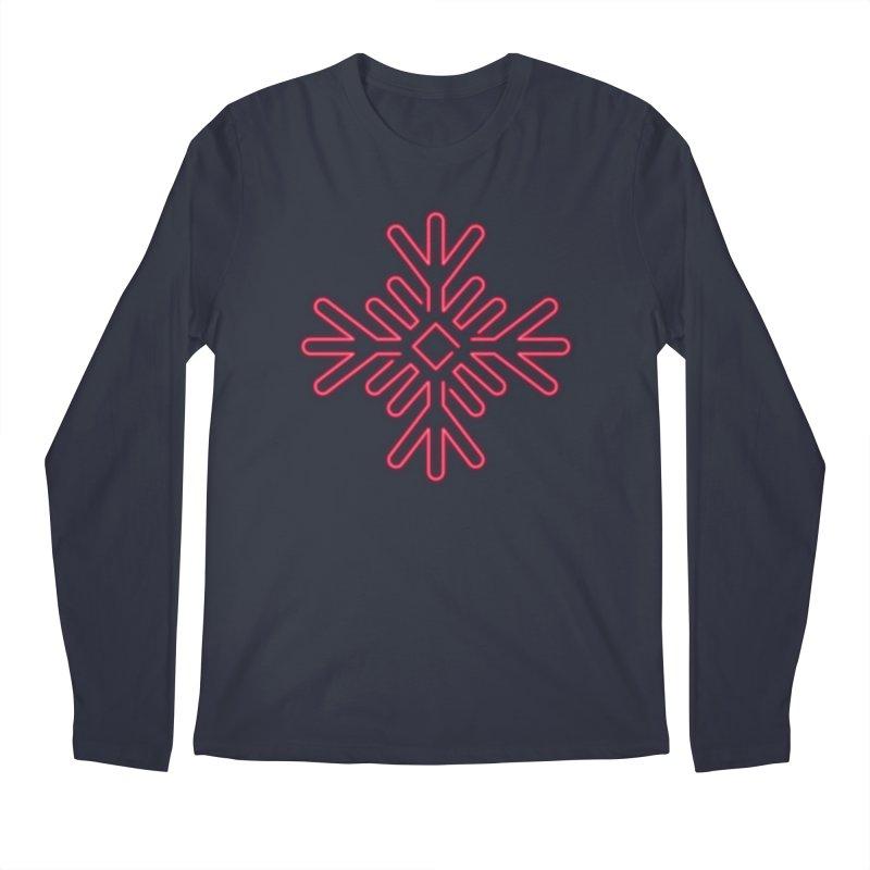 Neon Snowflake Red Men's Longsleeve T-Shirt by heavyhand's Artist Shop