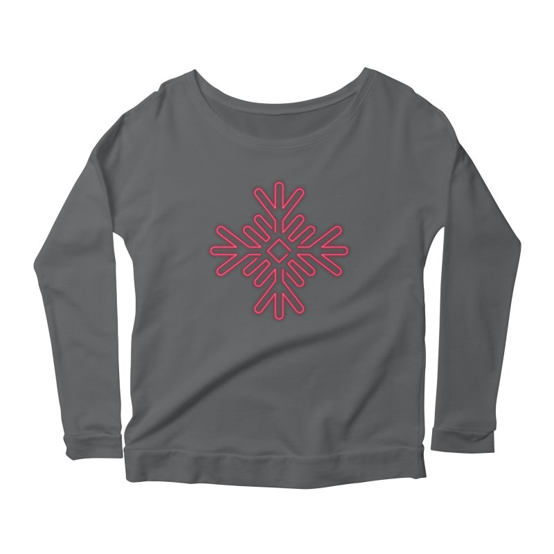 Neon Snowflake Red Women's Longsleeve T-Shirt by heavyhand's Artist Shop