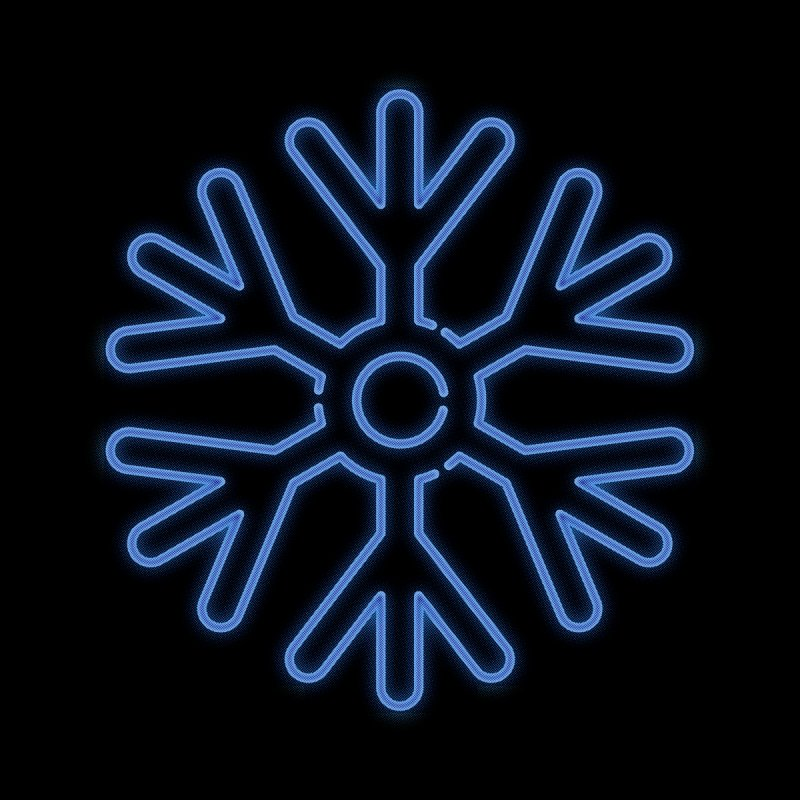 Neon Snowflake Blue Home Framed Fine Art Print by heavyhand's Artist Shop