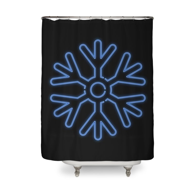 Neon Snowflake Blue Home Shower Curtain by heavyhand's Artist Shop