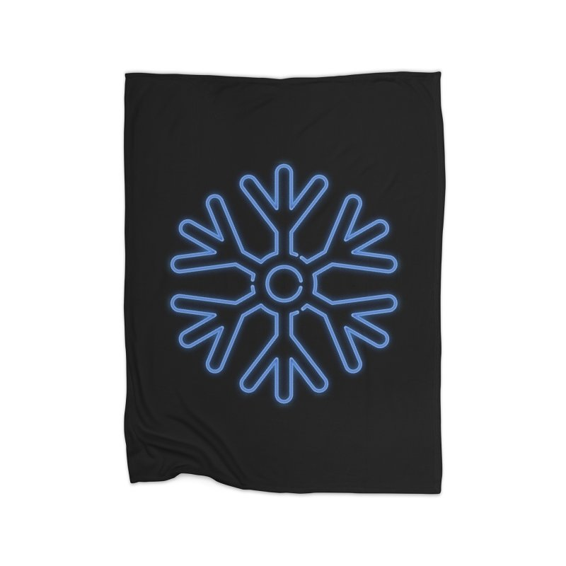 Neon Snowflake Blue Home Blanket by heavyhand's Artist Shop