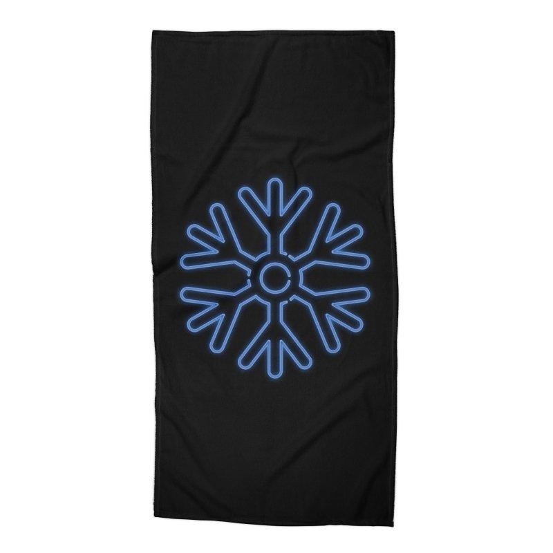Neon Snowflake Blue Accessories Beach Towel by heavyhand's Artist Shop