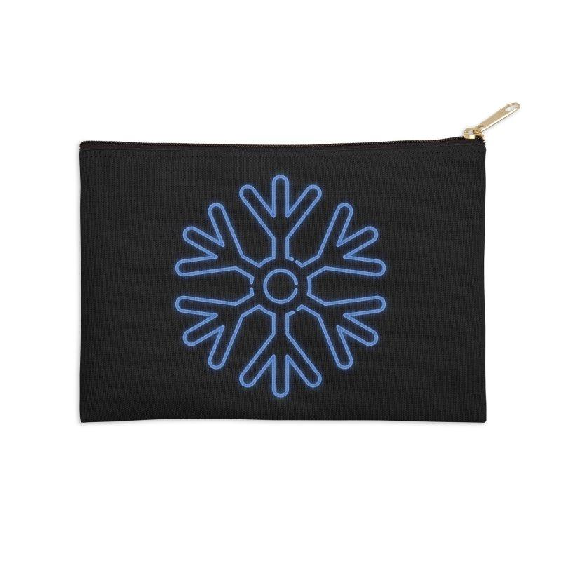 Neon Snowflake Blue Accessories Zip Pouch by heavyhand's Artist Shop