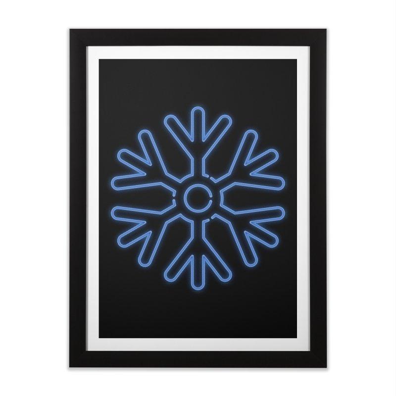 Neon Snowflake Blue Home Framed Fine Art Print by heavyhand's Artist Shop