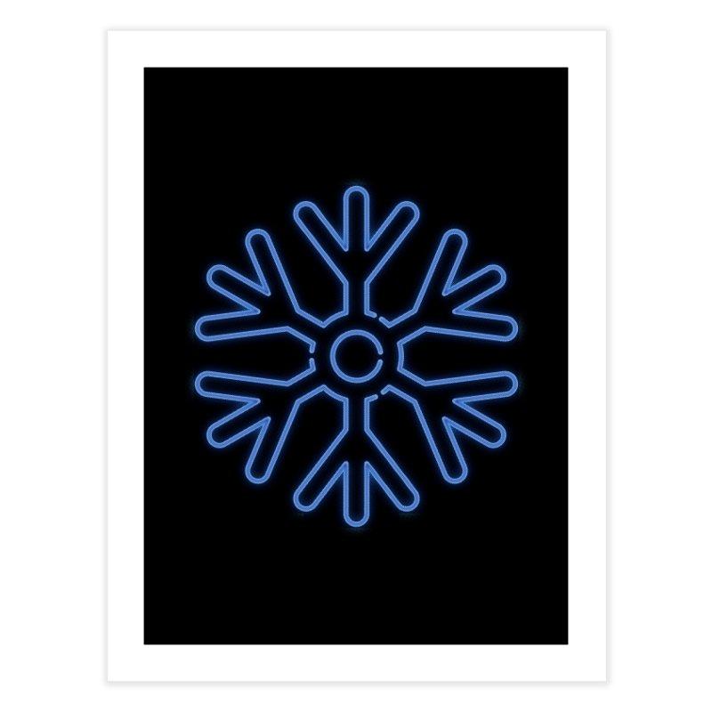 Neon Snowflake Blue Home Fine Art Print by heavyhand's Artist Shop