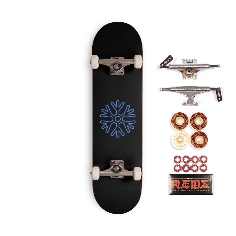 Neon Snowflake Blue Accessories Skateboard by heavyhand's Artist Shop