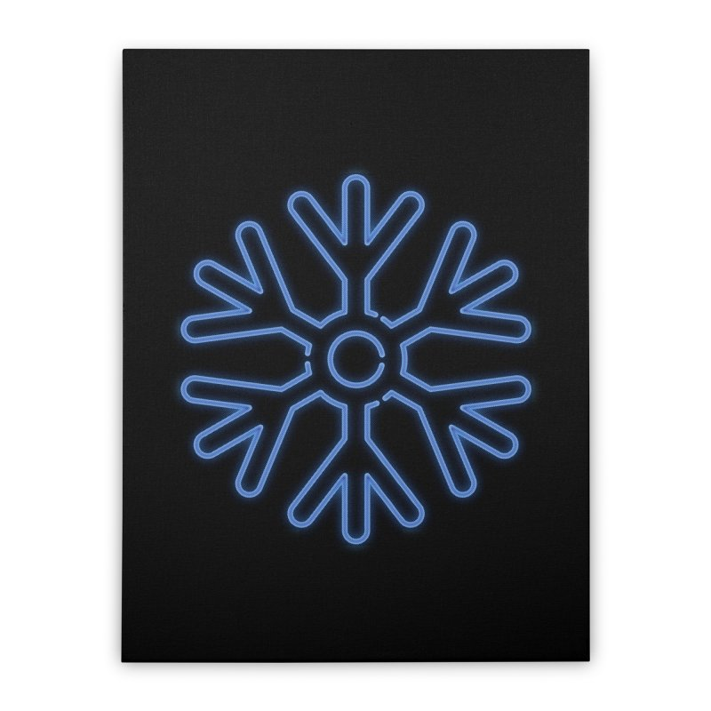 Neon Snowflake Blue Home Stretched Canvas by heavyhand's Artist Shop
