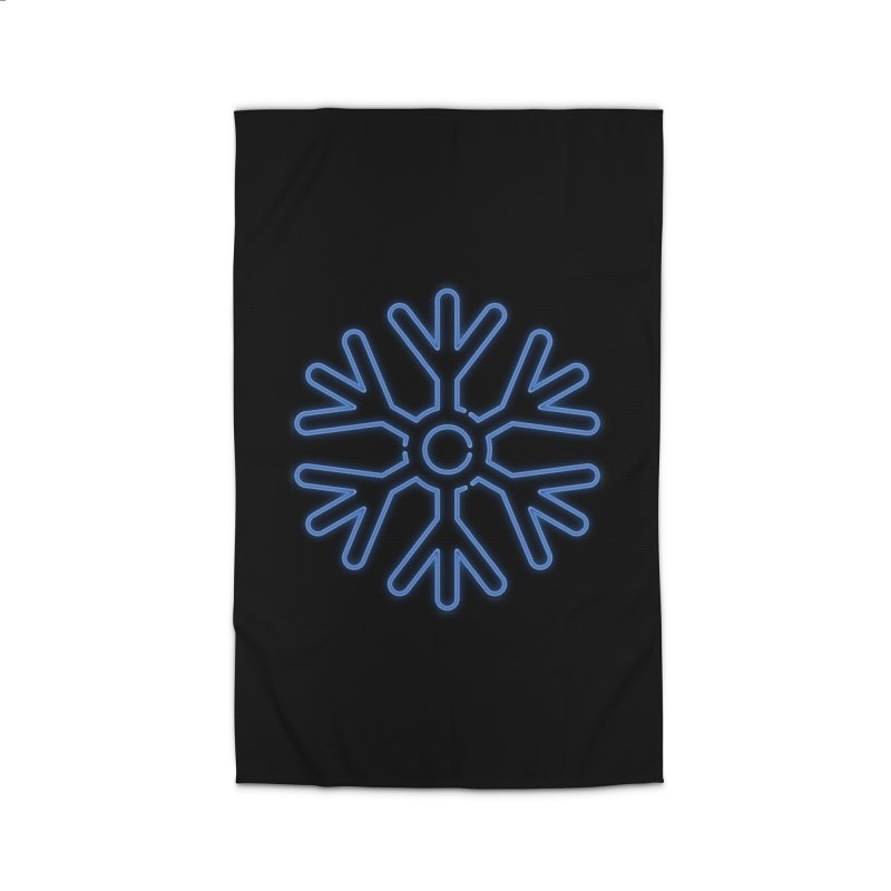 Neon Snowflake Blue Home Rug by heavyhand's Artist Shop