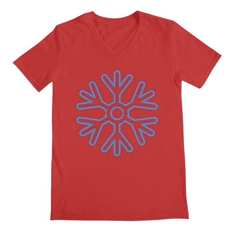 Neon Snowflake Blue Men's V-Neck by heavyhand's Artist Shop