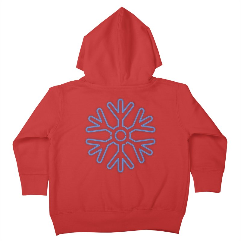 Neon Snowflake Blue Kids Toddler Zip-Up Hoody by heavyhand's Artist Shop