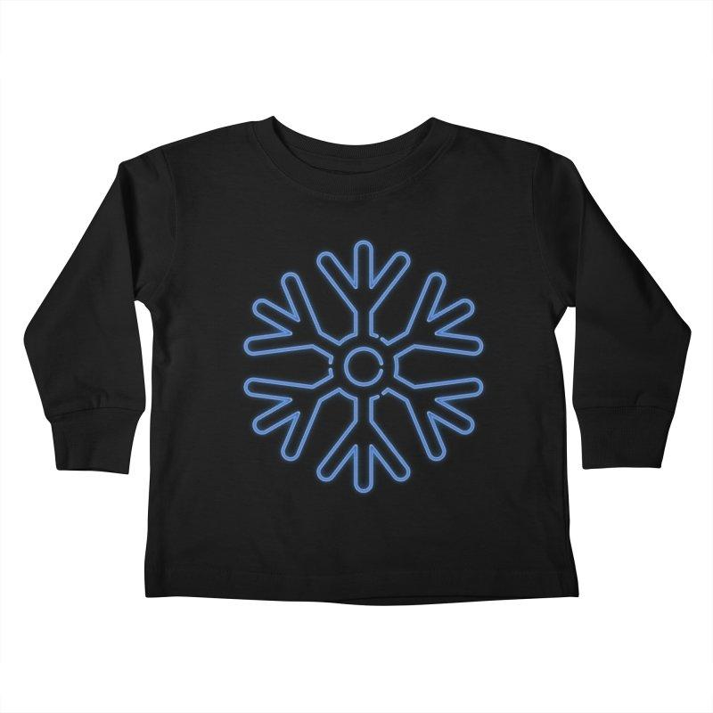 Neon Snowflake Blue Kids Toddler Longsleeve T-Shirt by heavyhand's Artist Shop