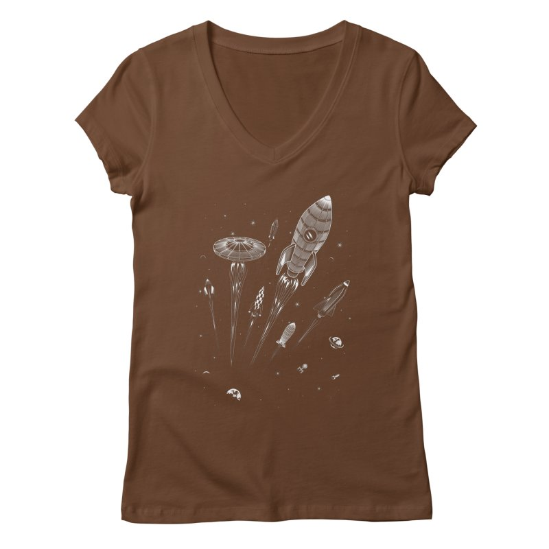 Space Race Women's V-Neck by heavyhand's Artist Shop