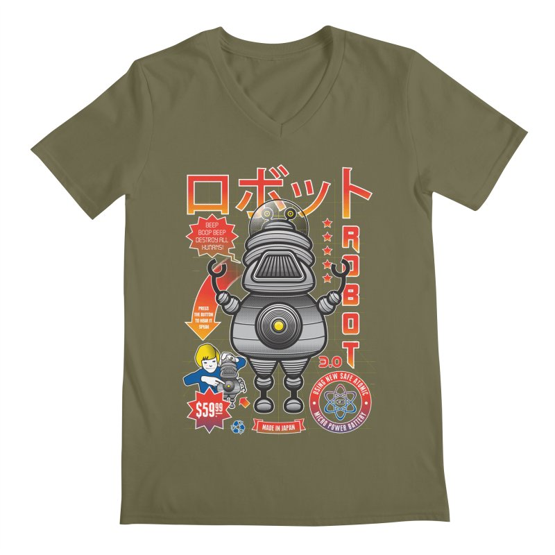 Robot 3.0 Men's V-Neck by heavyhand's Artist Shop