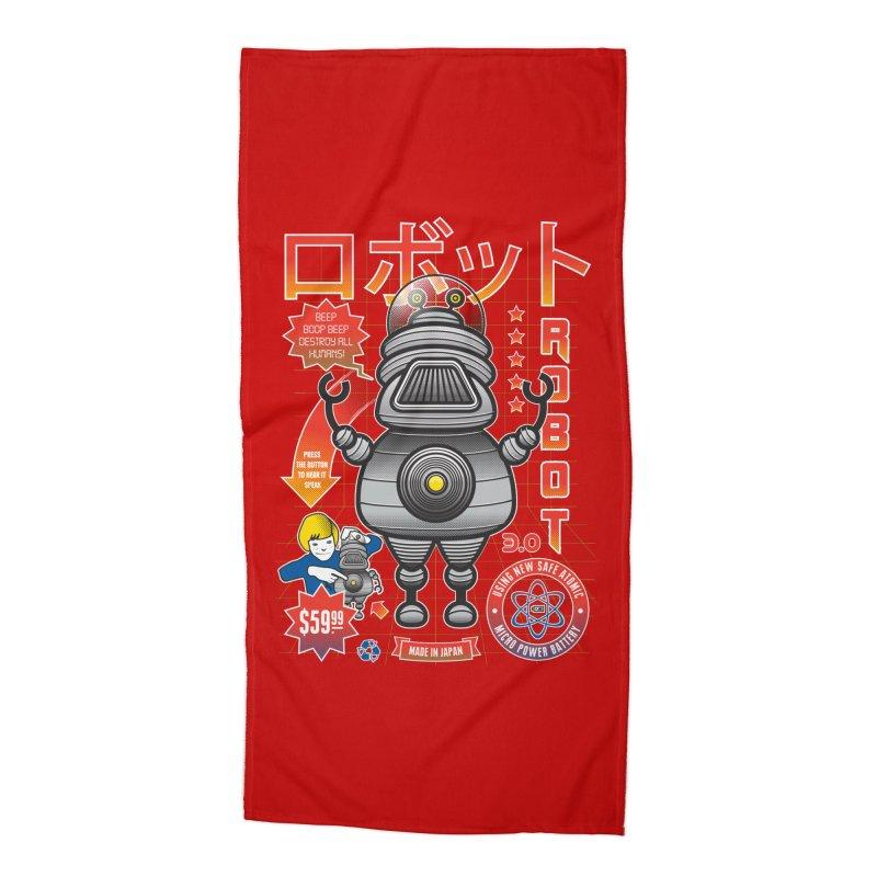 Robot 3.0 Accessories Beach Towel by heavyhand's Artist Shop