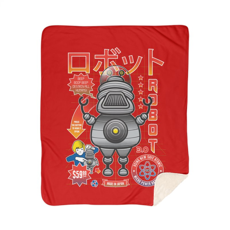 Robot 3.0 Home Sherpa Blanket Blanket by heavyhand's Artist Shop