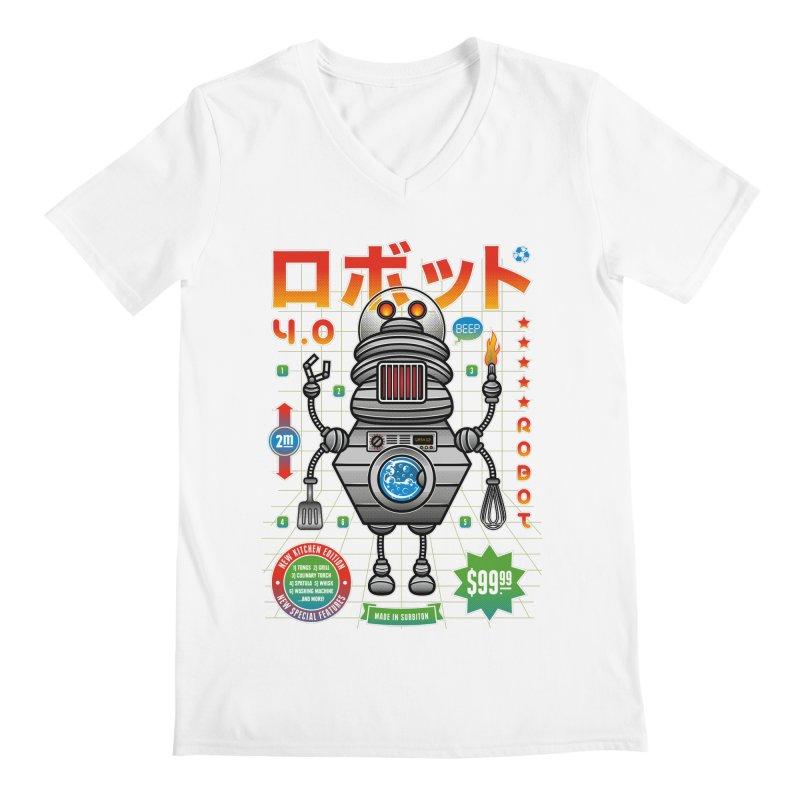 Robot 4.0 - Kitchen Edition Men's Regular V-Neck by heavyhand's Artist Shop