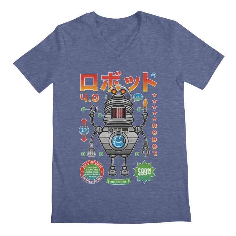 Robot 4.0 - Kitchen Edition Men's V-Neck by heavyhand's Artist Shop