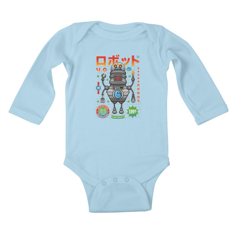 Robot 4.0 - Kitchen Edition Kids Baby Longsleeve Bodysuit by heavyhand's Artist Shop