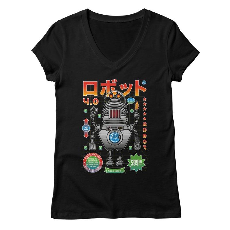 Robot 4.0 - Kitchen Edition Women's V-Neck by heavyhand's Artist Shop