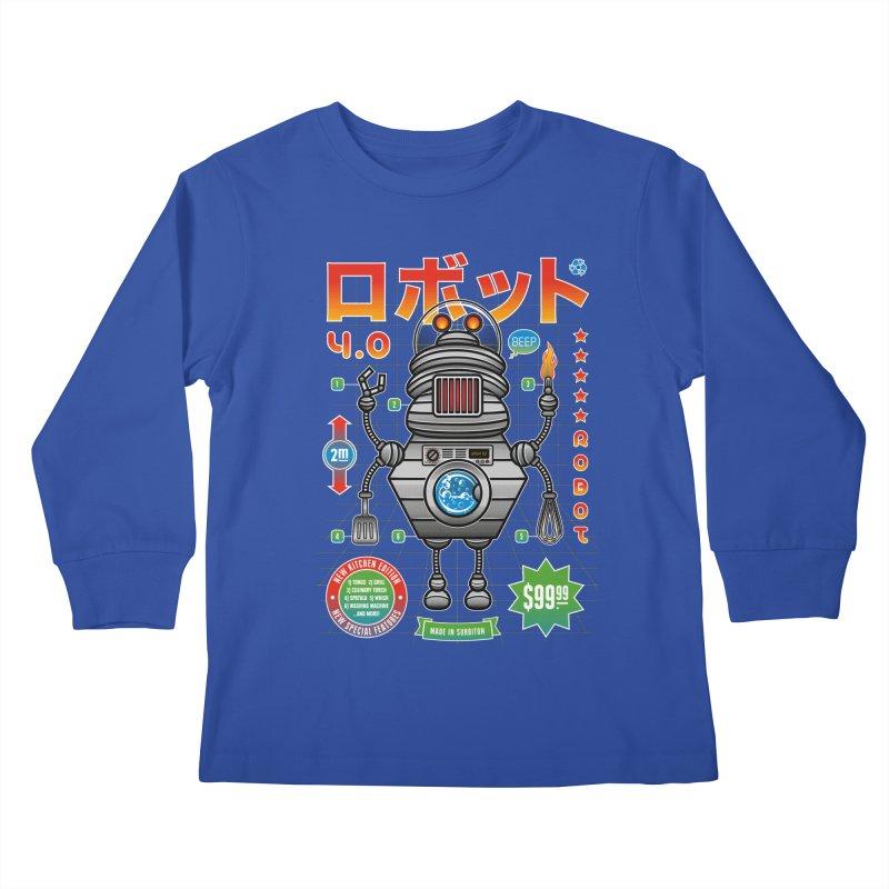 Robot 4.0 - Kitchen Edition Kids Longsleeve T-Shirt by heavyhand's Artist Shop
