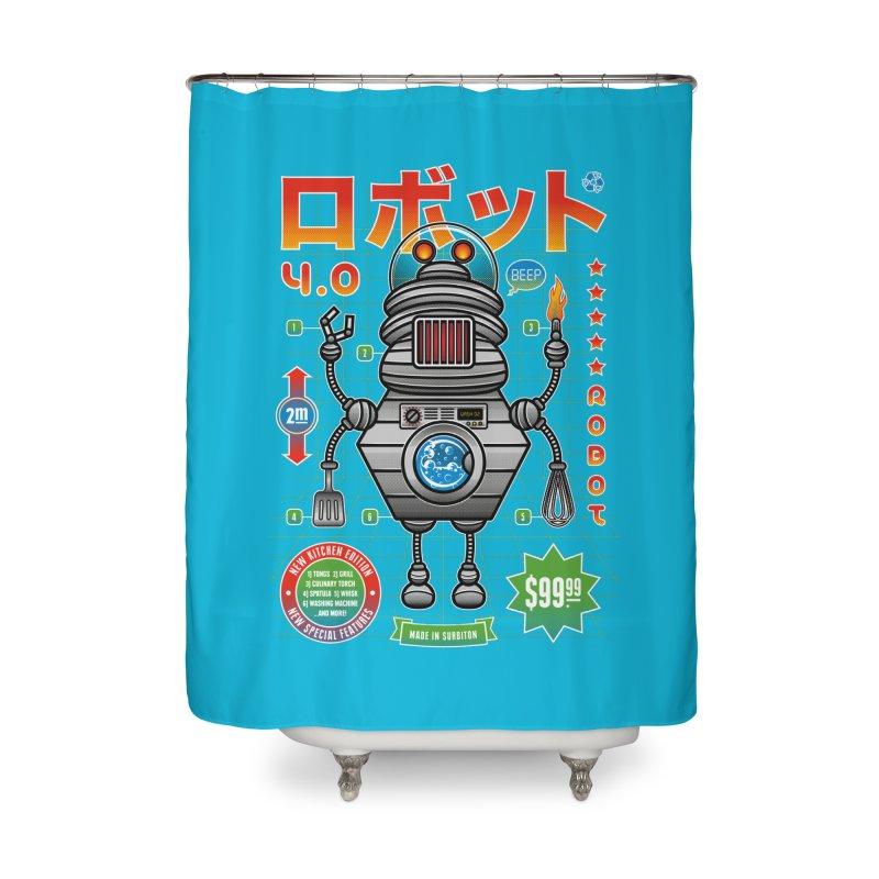 Robot 4.0 - Kitchen Edition Home Shower Curtain by heavyhand's Artist Shop