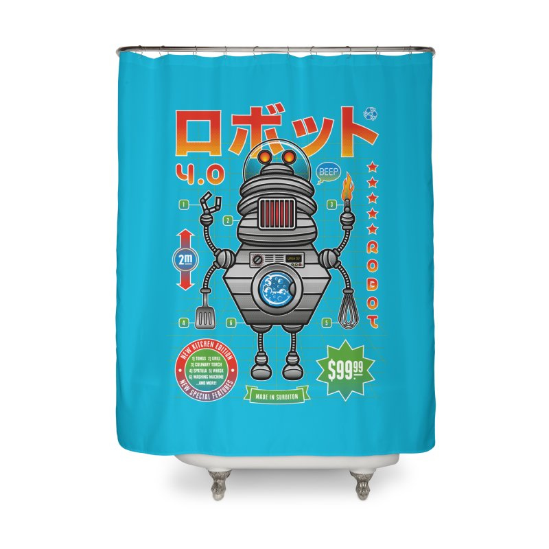 Robot 4.0 - Kitchen Edition Home Shower Curtain by heavyhand's Artist Shop
