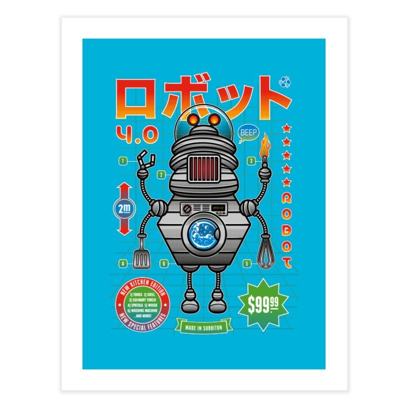 Robot 4.0 - Kitchen Edition Home Fine Art Print by heavyhand's Artist Shop