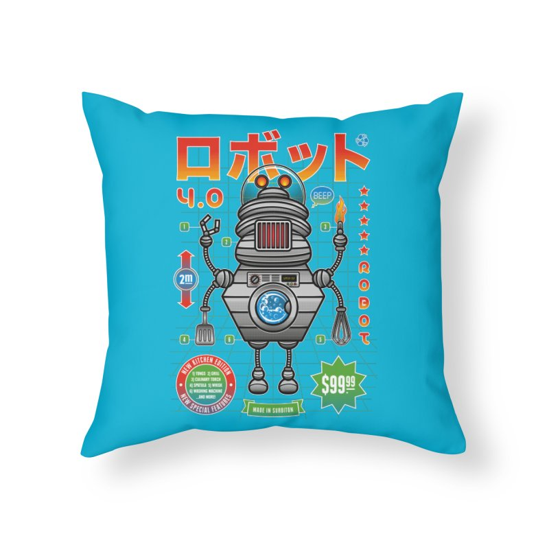 Robot 4.0 - Kitchen Edition Home Throw Pillow by heavyhand's Artist Shop
