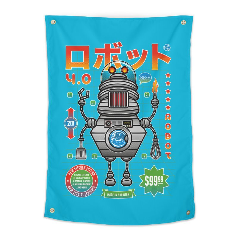 Robot 4.0 - Kitchen Edition Home Tapestry by heavyhand's Artist Shop