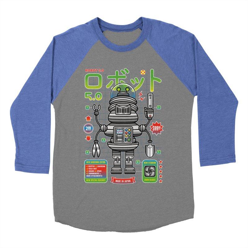 Robot 5.0 - Gardening Edition Men's Baseball Triblend Longsleeve T-Shirt by heavyhand's Artist Shop