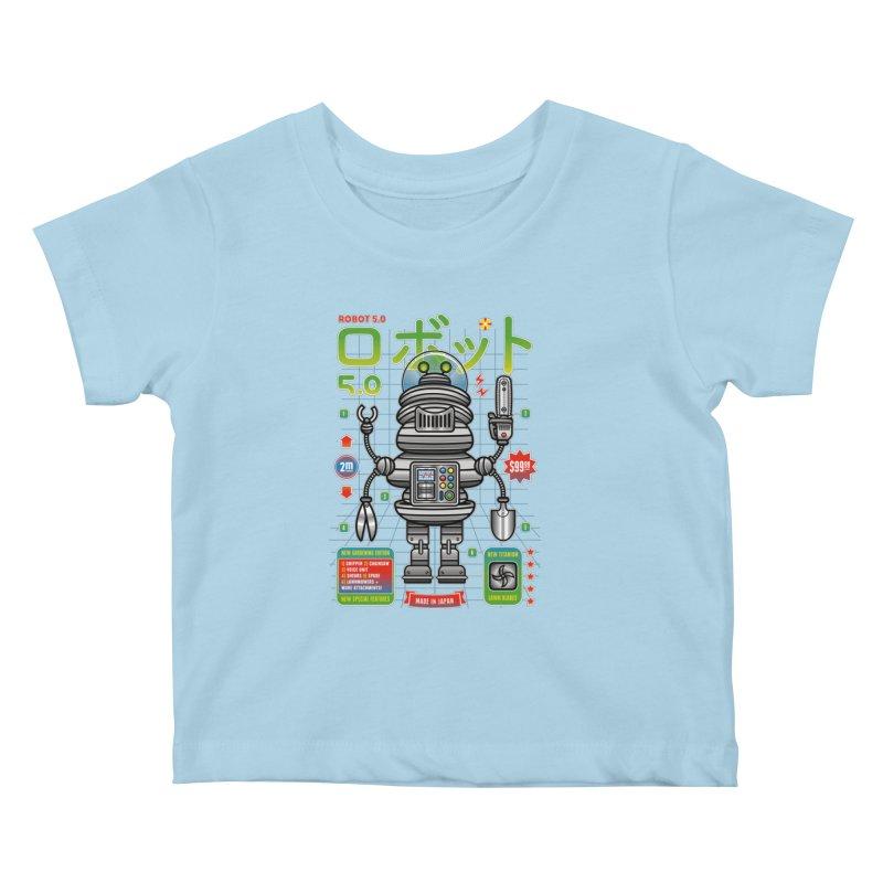 Robot 5.0 - Gardening Edition Kids Baby T-Shirt by heavyhand's Artist Shop