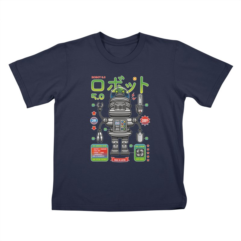 Robot 5.0 - Gardening Edition Kids T-Shirt by heavyhand's Artist Shop
