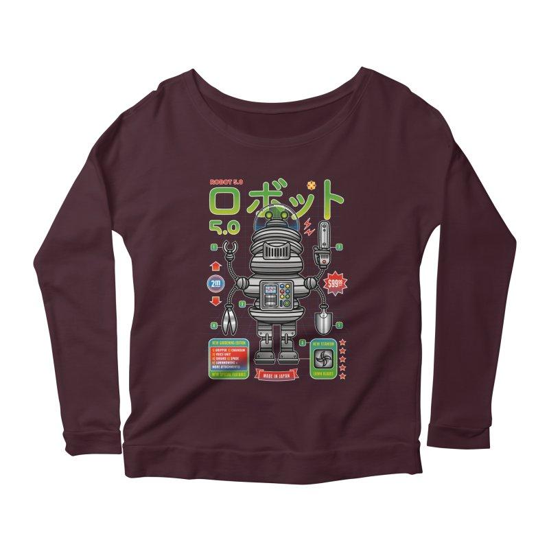 Robot 5.0 - Gardening Edition Women's Scoop Neck Longsleeve T-Shirt by heavyhand's Artist Shop