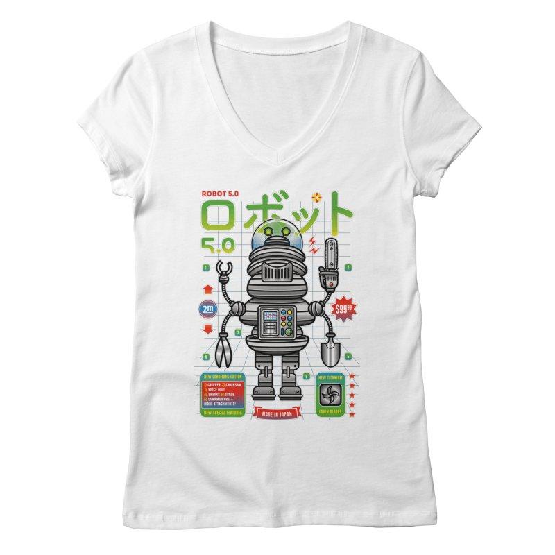 Robot 5.0 - Gardening Edition Women's V-Neck by heavyhand's Artist Shop