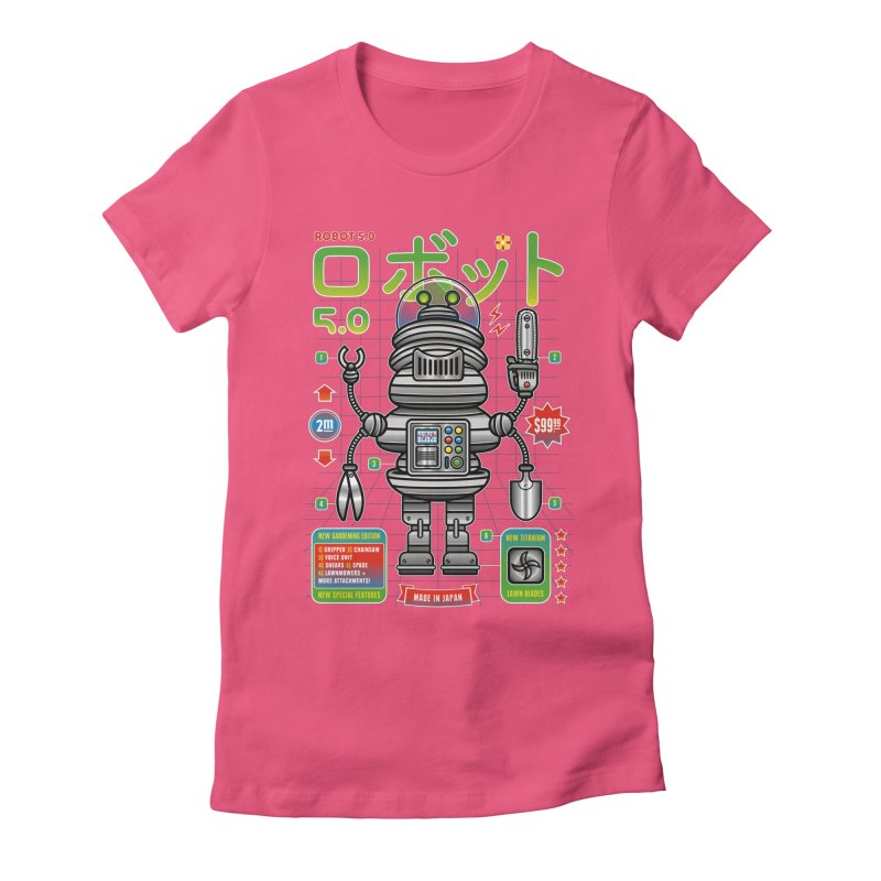 Robot 5.0 - Gardening Edition Women's Fitted T-Shirt by heavyhand's Artist Shop