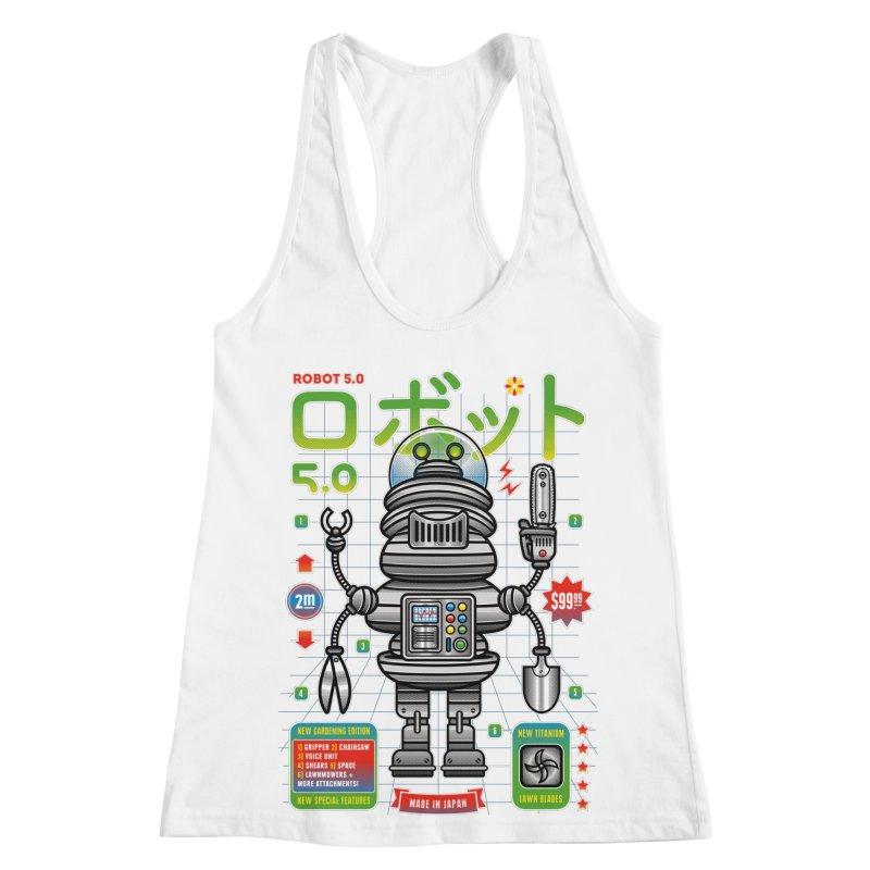 Robot 5.0 - Gardening Edition Women's Racerback Tank by heavyhand's Artist Shop