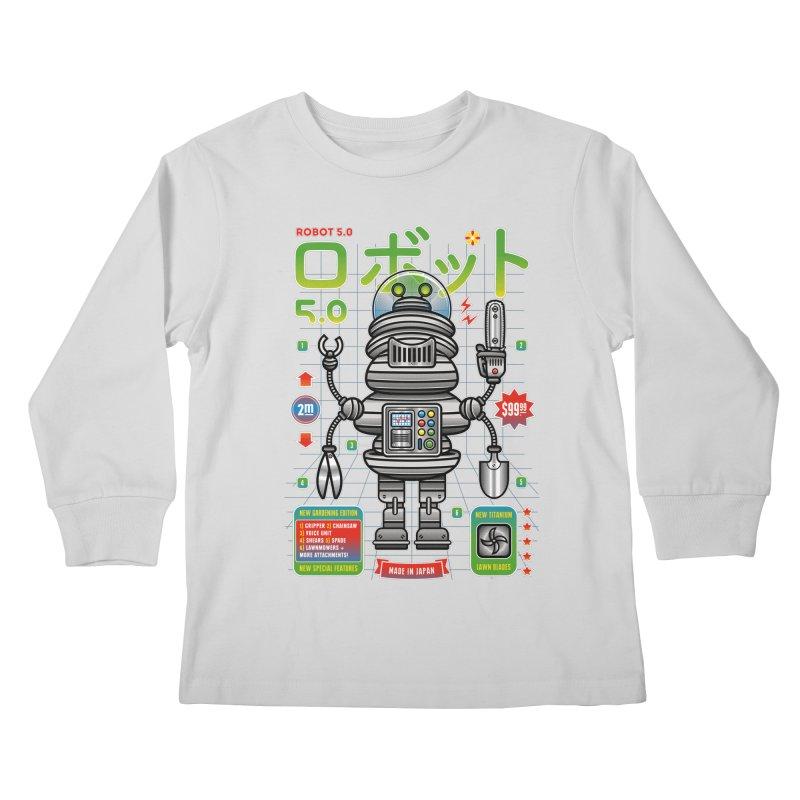 Robot 5.0 - Gardening Edition Kids Longsleeve T-Shirt by heavyhand's Artist Shop