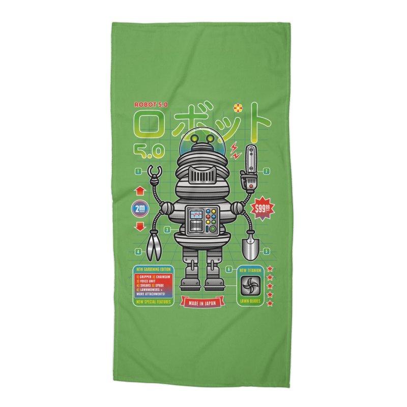 Robot 5.0 - Gardening Edition Accessories Beach Towel by heavyhand's Artist Shop