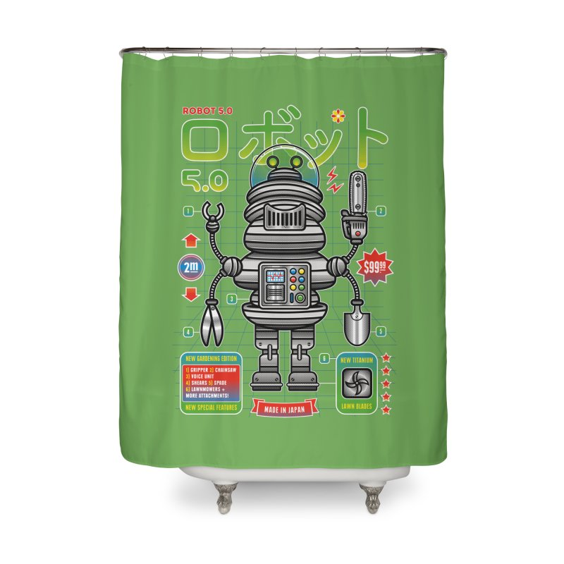 Robot 5.0 - Gardening Edition Home Shower Curtain by heavyhand's Artist Shop
