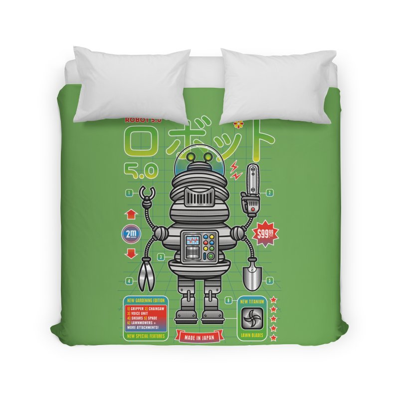 Robot 5.0 - Gardening Edition Home Duvet by heavyhand's Artist Shop